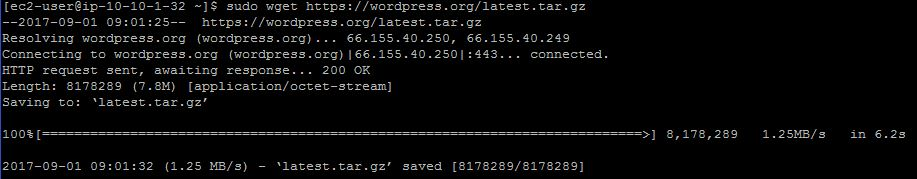 Downloading WordPress with wget