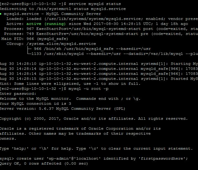Login to MYSQL and create user and pass